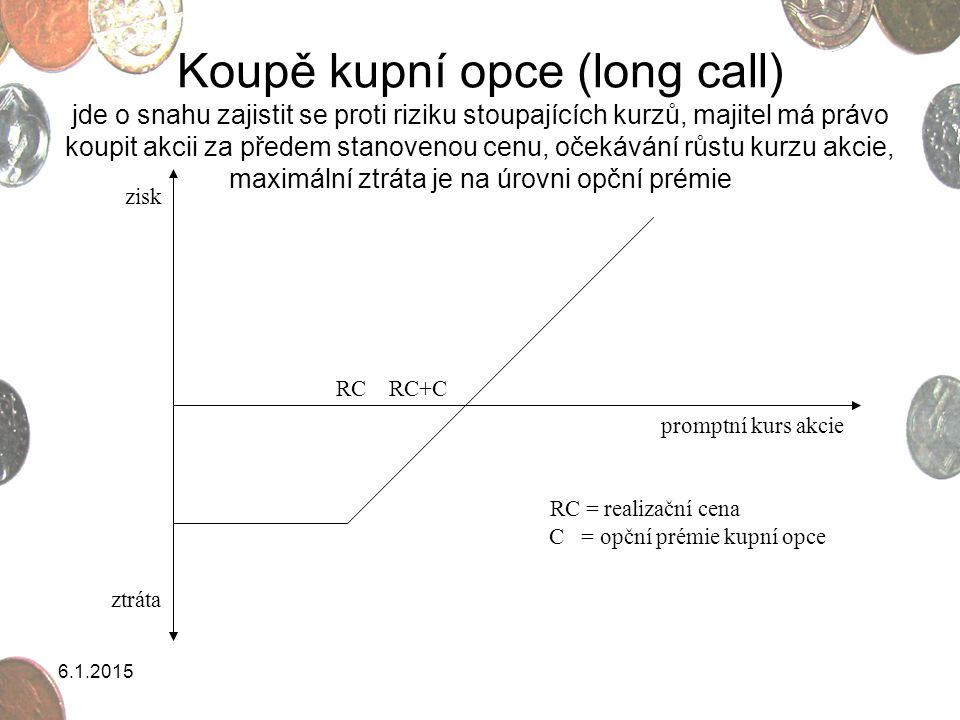 C = opční prémie kupní opce