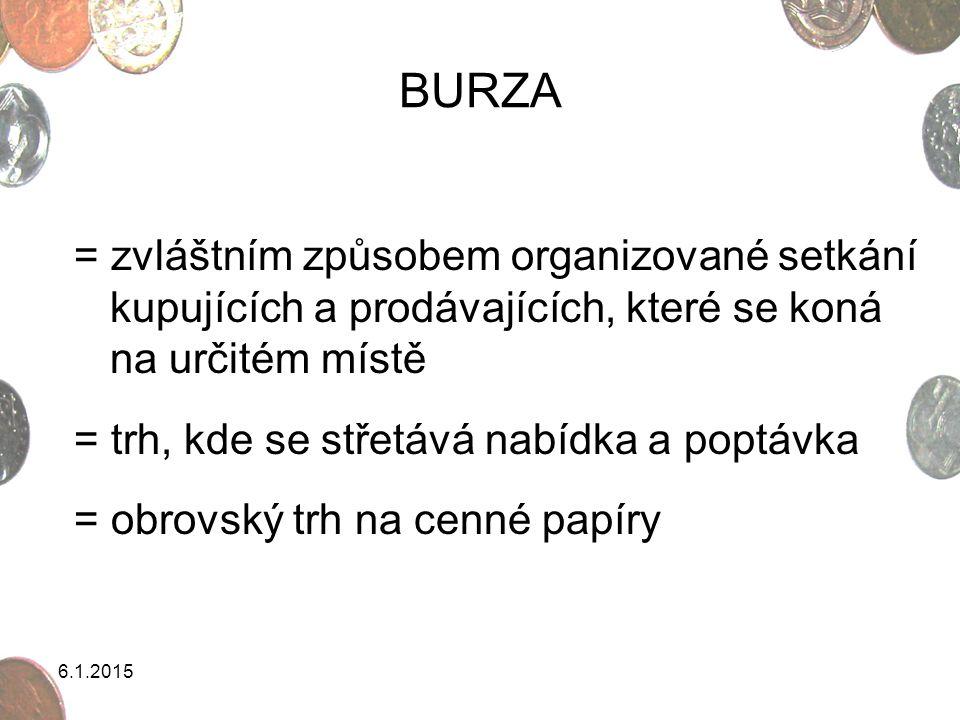 BURZA = zvláštním způsobem organizované setkání kupujících a prodávajících, které se koná na určitém místě.