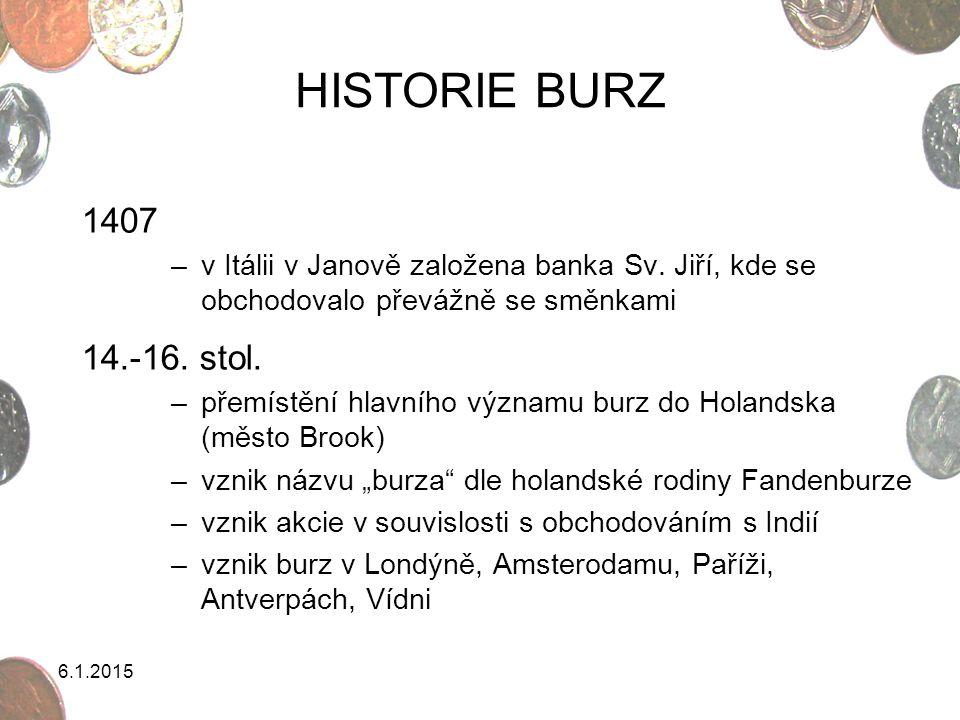 HISTORIE BURZ 1407. v Itálii v Janově založena banka Sv. Jiří, kde se obchodovalo převážně se směnkami.