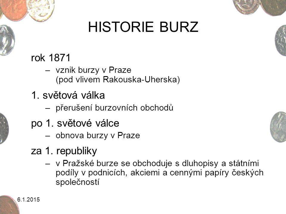 HISTORIE BURZ rok 1871 1. světová válka po 1. světové válce