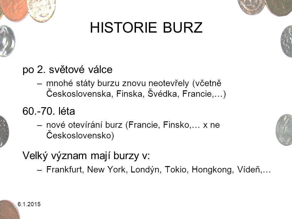 HISTORIE BURZ po 2. světové válce 60.-70. léta
