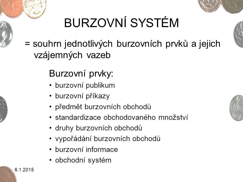 BURZOVNÍ SYSTÉM = souhrn jednotlivých burzovních prvků a jejich vzájemných vazeb. Burzovní prvky: burzovní publikum.