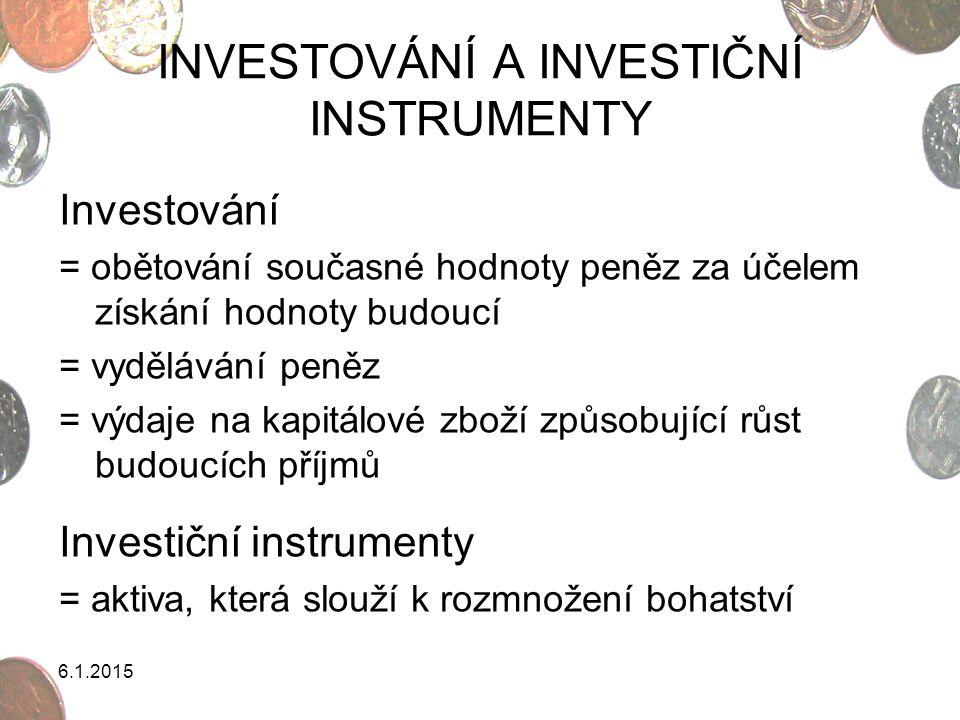INVESTOVÁNÍ A INVESTIČNÍ INSTRUMENTY