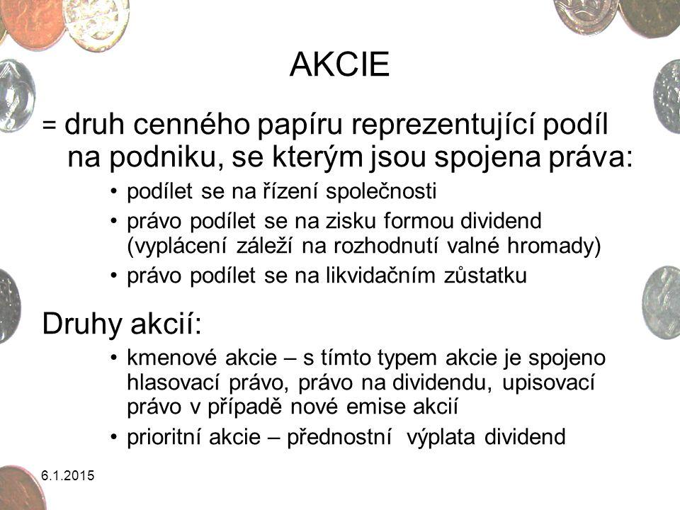 AKCIE = druh cenného papíru reprezentující podíl na podniku, se kterým jsou spojena práva: podílet se na řízení společnosti.