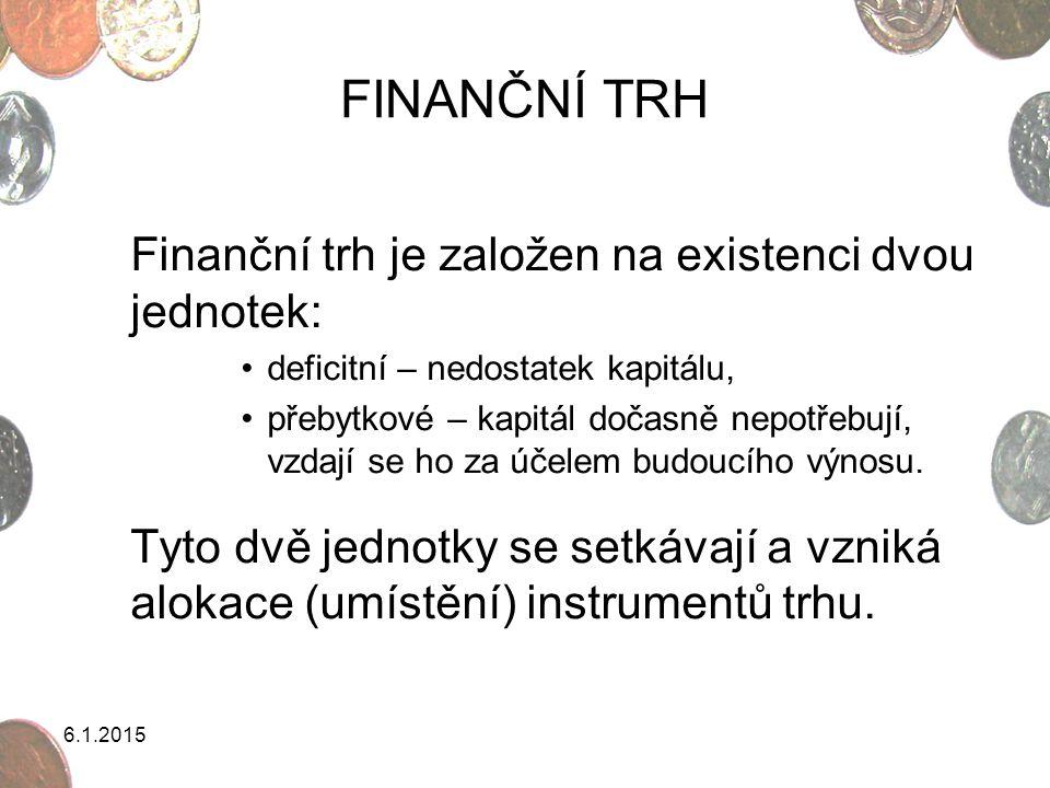 FINANČNÍ TRH Finanční trh je založen na existenci dvou jednotek: