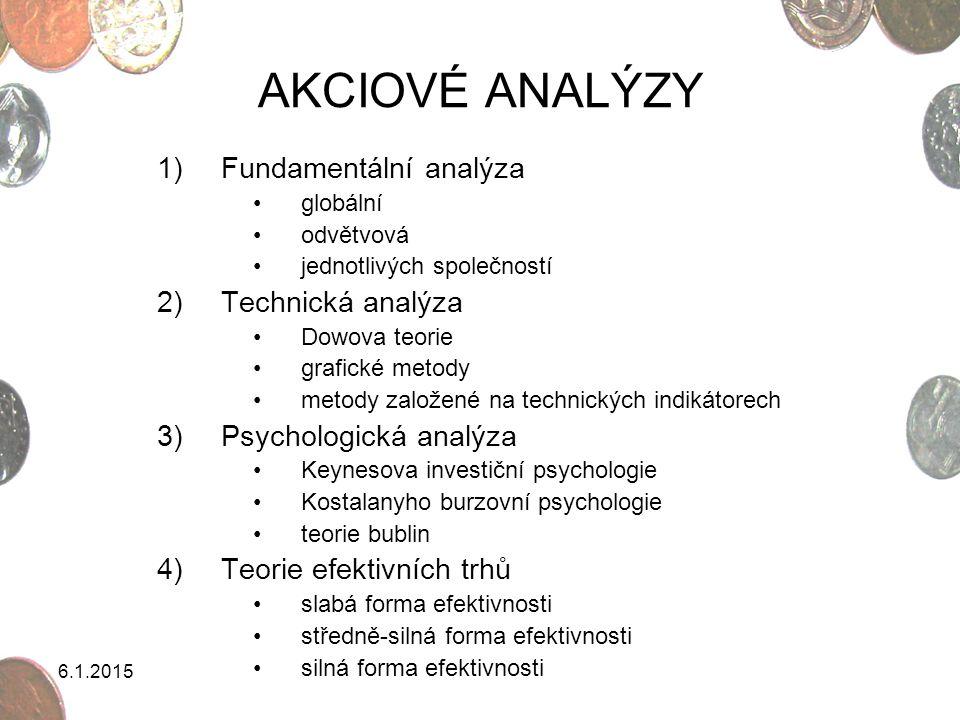 AKCIOVÉ ANALÝZY Fundamentální analýza Technická analýza