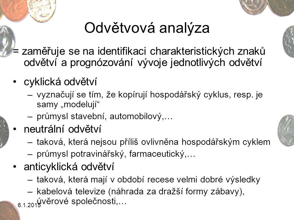 Odvětvová analýza = zaměřuje se na identifikaci charakteristických znaků odvětví a prognózování vývoje jednotlivých odvětví.