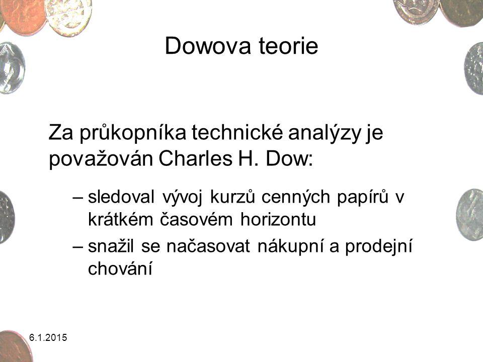 Dowova teorie Za průkopníka technické analýzy je považován Charles H. Dow: sledoval vývoj kurzů cenných papírů v krátkém časovém horizontu.