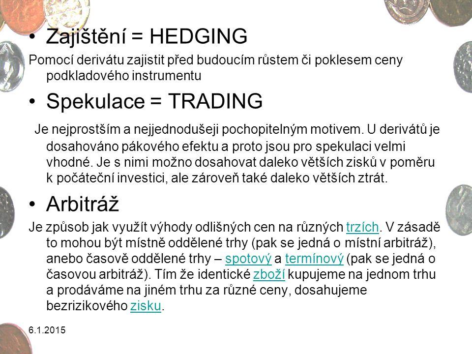 Zajištění = HEDGING Spekulace = TRADING