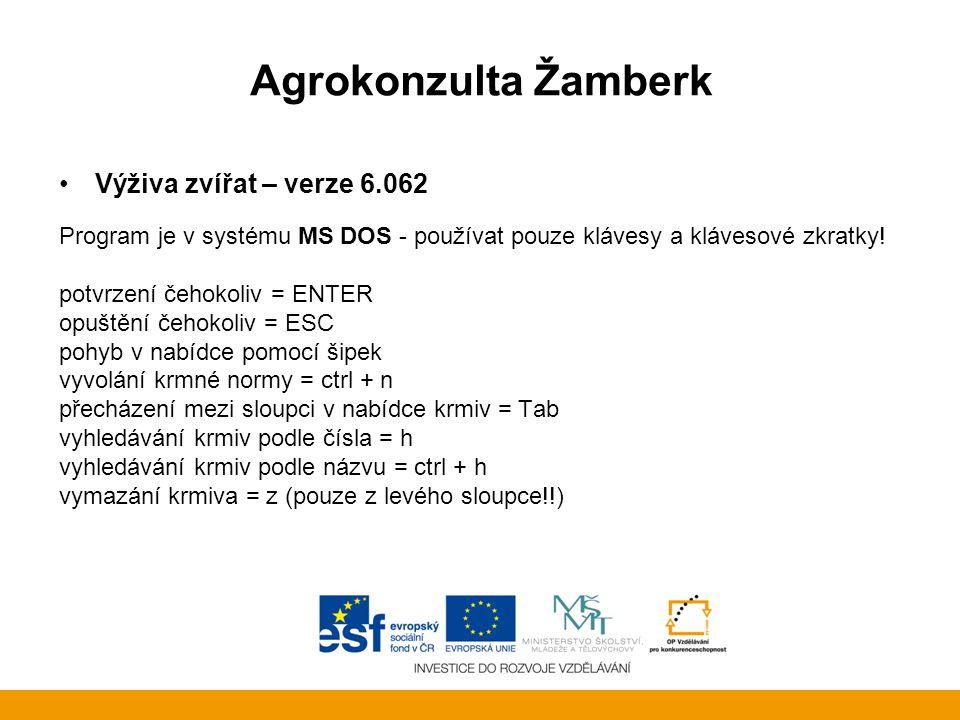 Agrokonzulta Žamberk Výživa zvířat – verze 6.062