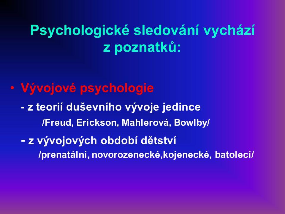 Psychologické sledování vychází z poznatků: