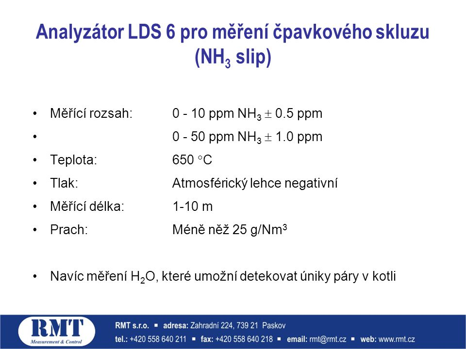 Analyzátor LDS 6 pro měření čpavkového skluzu (NH3 slip)