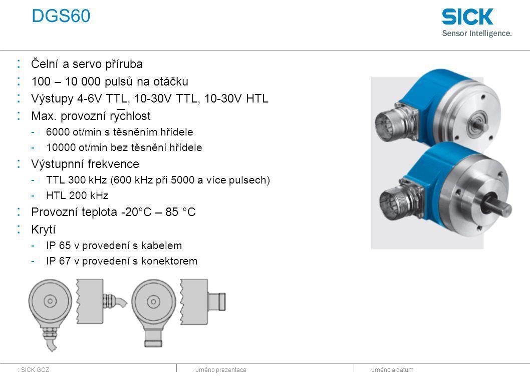 DGS60 Čelní a servo příruba 100 – 10 000 pulsů na otáčku