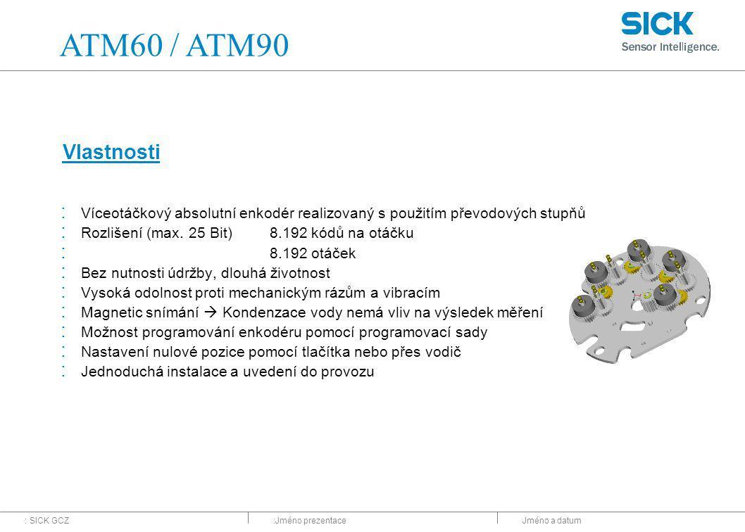 ATM60 / ATM90 Vlastnosti. Víceotáčkový absolutní enkodér realizovaný s použitím převodových stupňů.