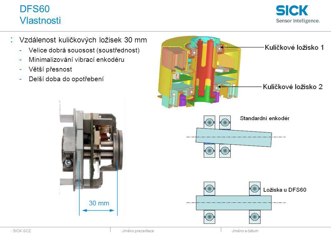 DFS60 Vlastnosti Vzdálenost kuličkových ložisek 30 mm