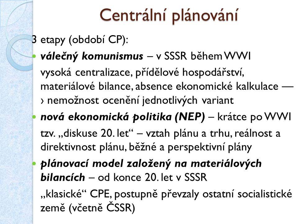 Centrální plánování 3 etapy (období CP):