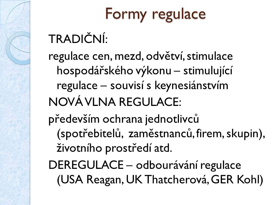 Formy regulace