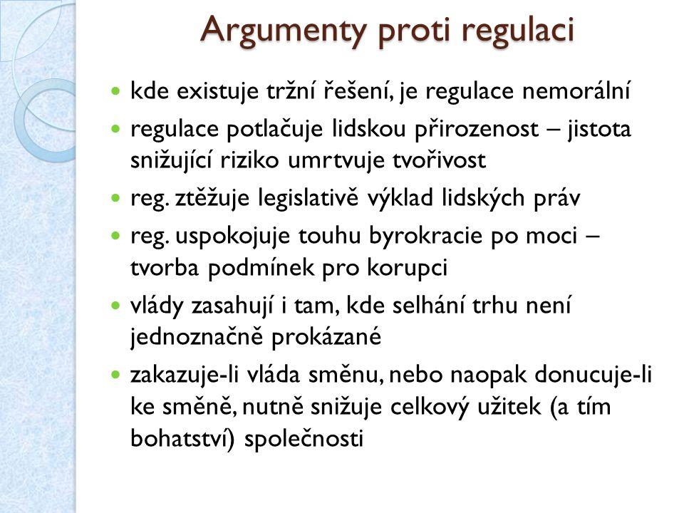 Argumenty proti regulaci