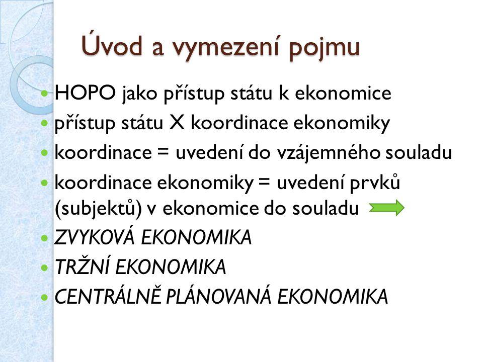 Úvod a vymezení pojmu HOPO jako přístup státu k ekonomice