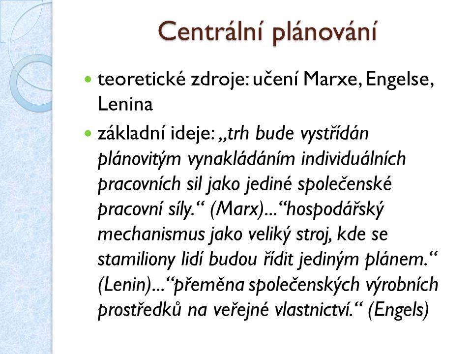 Centrální plánování teoretické zdroje: učení Marxe, Engelse, Lenina