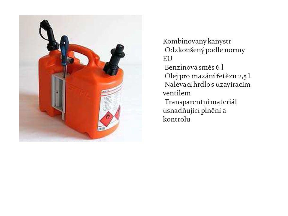 Kombinovaný kanystr Odzkoušený podle normy. EU. Benzinová směs 6 l. Olej pro mazání řetězu 2,5 l.