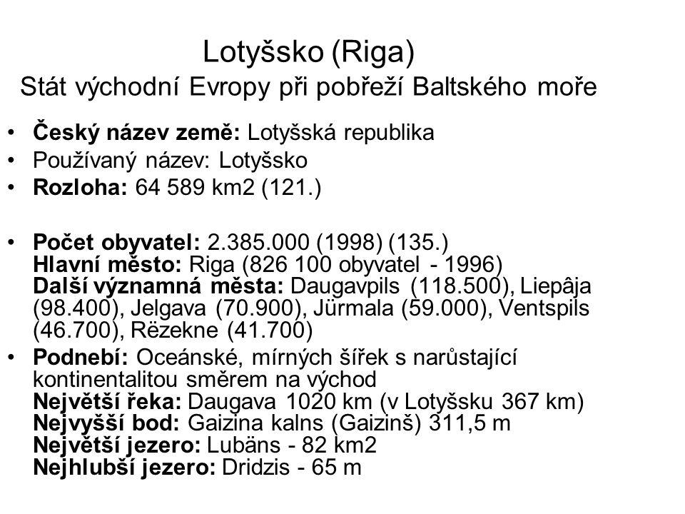 Lotyšsko (Riga) Stát východní Evropy při pobřeží Baltského moře