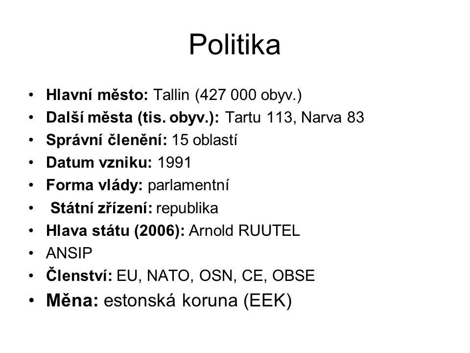 Politika Měna: estonská koruna (EEK)