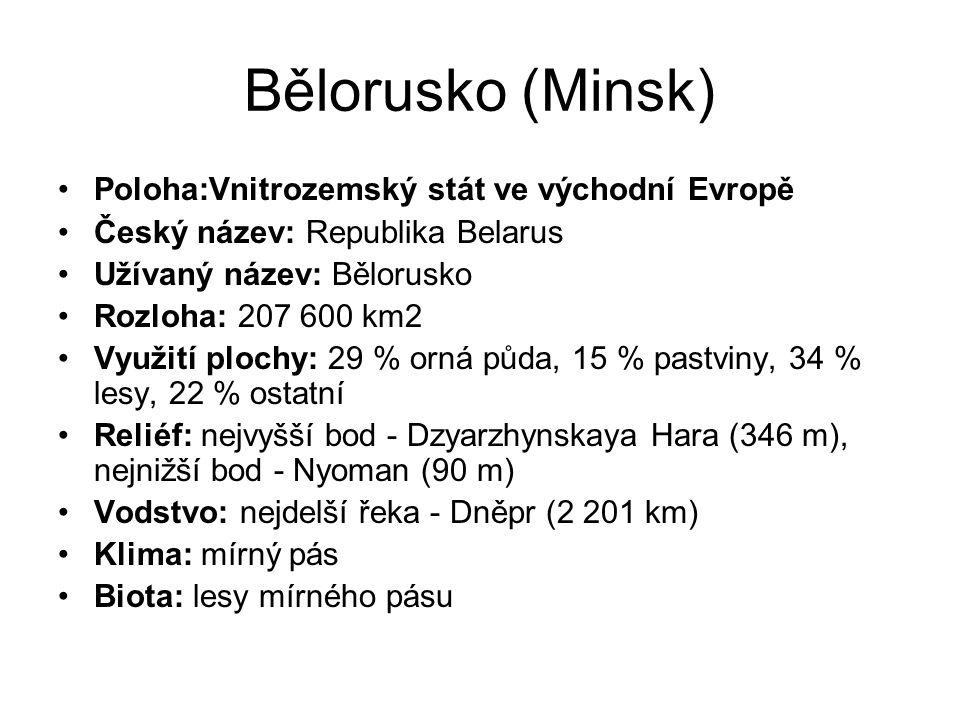 Bělorusko (Minsk) Poloha:Vnitrozemský stát ve východní Evropě