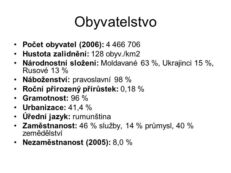 Obyvatelstvo Počet obyvatel (2006): 4 466 706