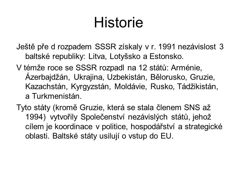 Historie Ještě pře d rozpadem SSSR získaly v r. 1991 nezávislost 3 baltské republiky: Litva, Lotyšsko a Estonsko.