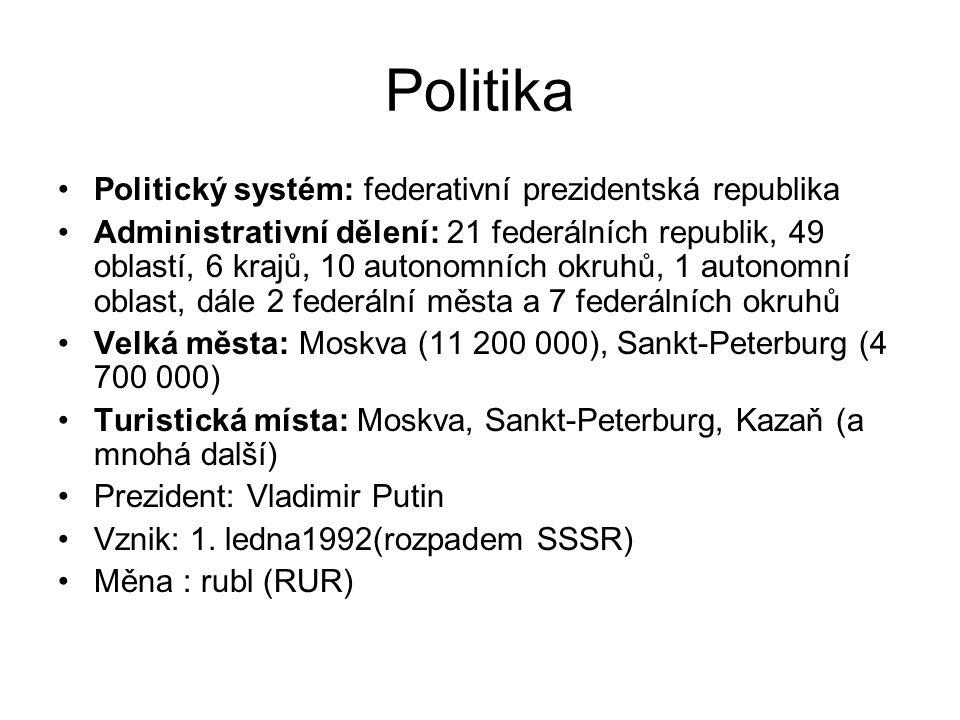 Politika Politický systém: federativní prezidentská republika