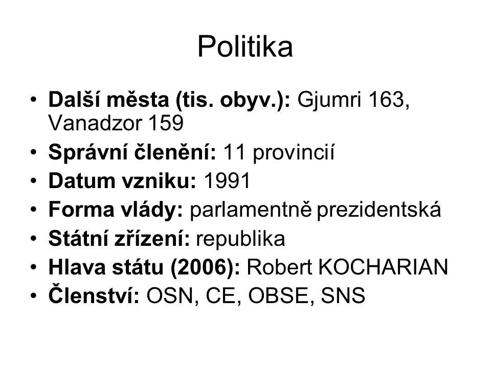 Politika Další města (tis. obyv.): Gjumri 163, Vanadzor 159