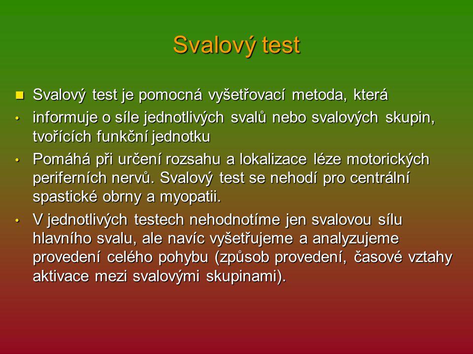 Svalový test Svalový test je pomocná vyšetřovací metoda, která