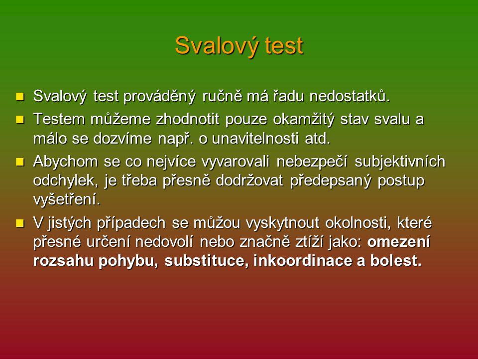 Svalový test Svalový test prováděný ručně má řadu nedostatků.
