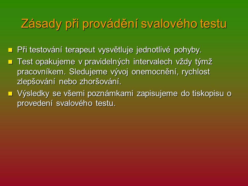 Zásady při provádění svalového testu