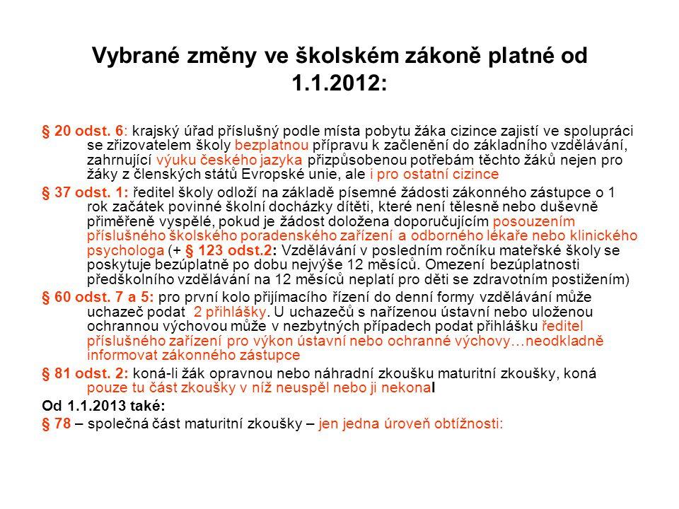 Vybrané změny ve školském zákoně platné od 1.1.2012: