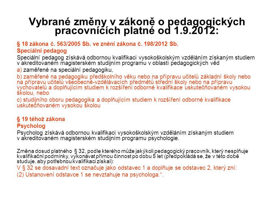 Vybrané změny v zákoně o pedagogických pracovnících platné od 1. 9