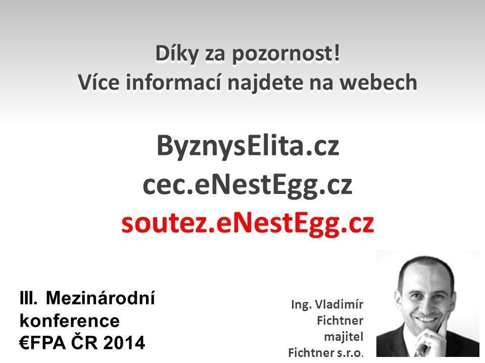 Díky za pozornost! Více informací najdete na webech ByznysElita.cz cec.eNestEgg.cz soutez.eNestEgg.cz