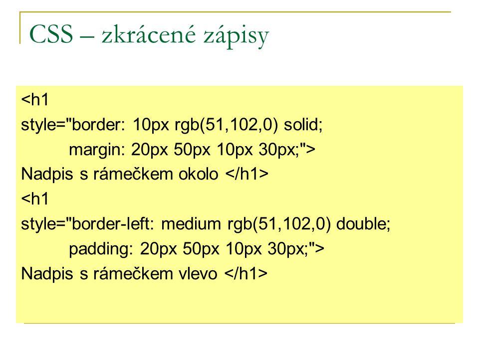 CSS – zkrácené zápisy <h1 style= border: 10px rgb(51,102,0) solid;