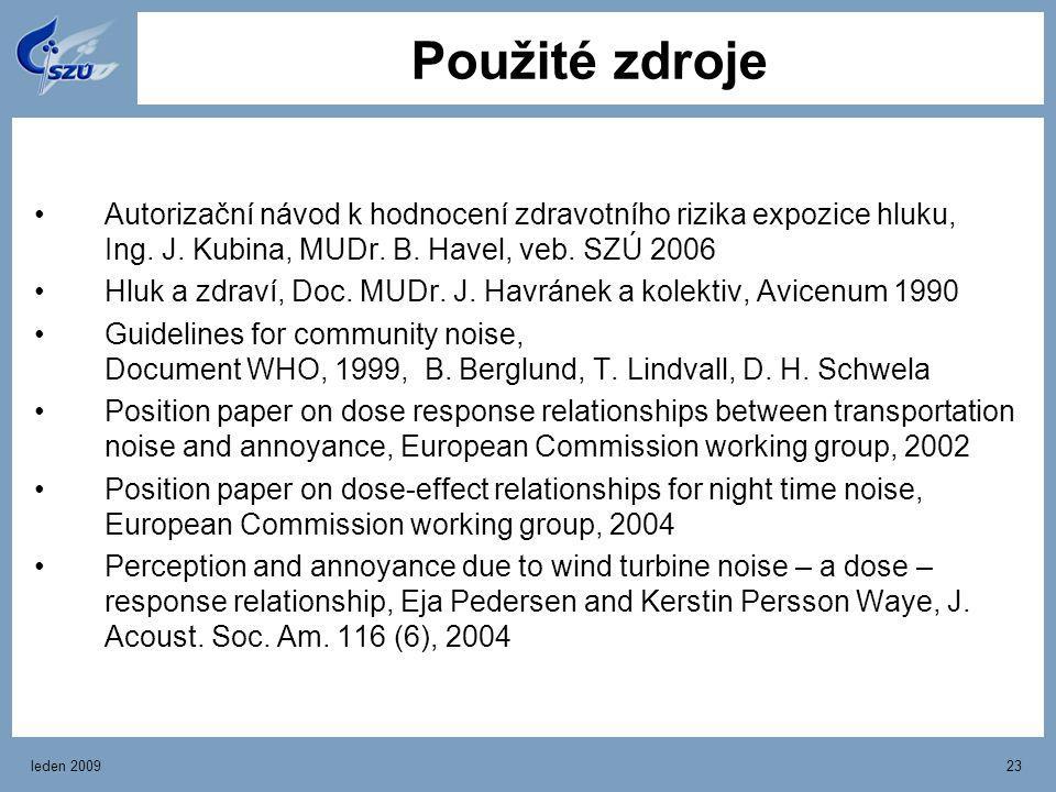 Použité zdroje Autorizační návod k hodnocení zdravotního rizika expozice hluku, Ing. J. Kubina, MUDr. B. Havel, veb. SZÚ 2006.