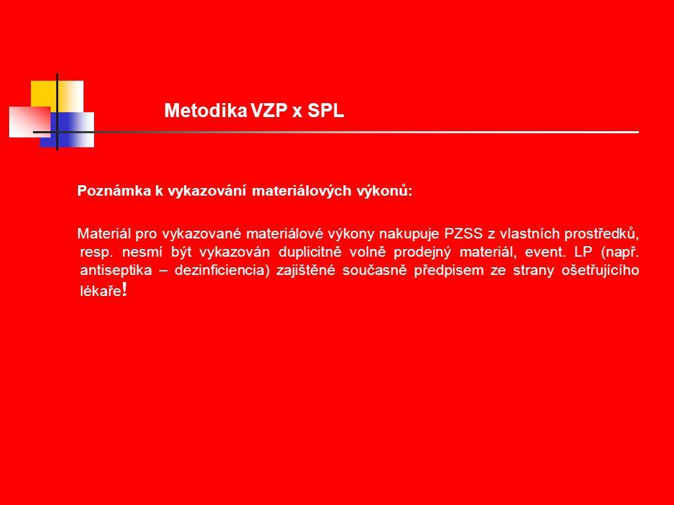 Metodika VZP x SPL Poznámka k vykazování materiálových výkonů: