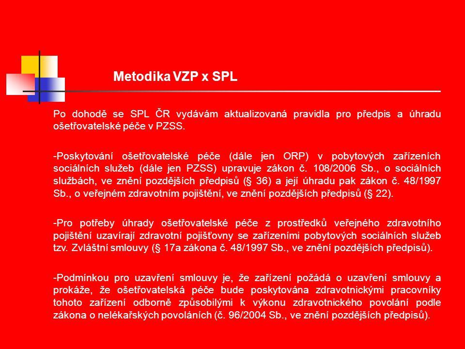 Metodika VZP x SPL Po dohodě se SPL ČR vydávám aktualizovaná pravidla pro předpis a úhradu ošetřovatelské péče v PZSS.
