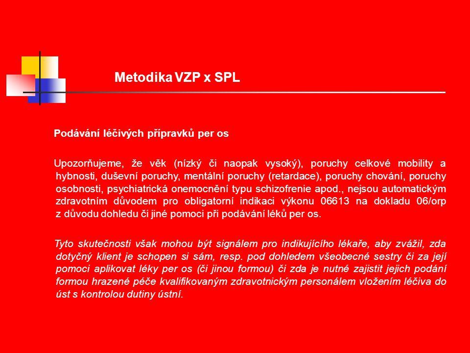 Metodika VZP x SPL Podávání léčivých přípravků per os