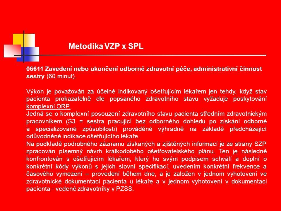 Metodika VZP x SPL 06611 Zavedení nebo ukončení odborné zdravotní péče, administrativní činnost sestry (60 minut).