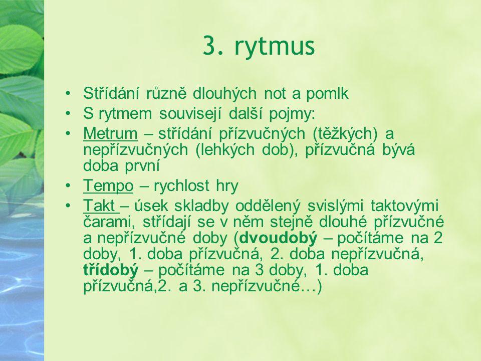 3. rytmus Střídání různě dlouhých not a pomlk