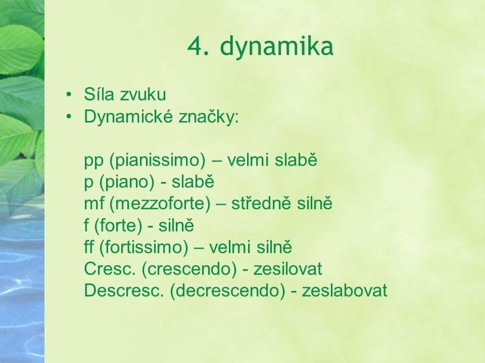 4. dynamika Síla zvuku Dynamické značky: pp (pianissimo) – velmi slabě