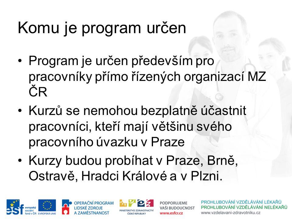 Komu je program určen Program je určen především pro pracovníky přímo řízených organizací MZ ČR.
