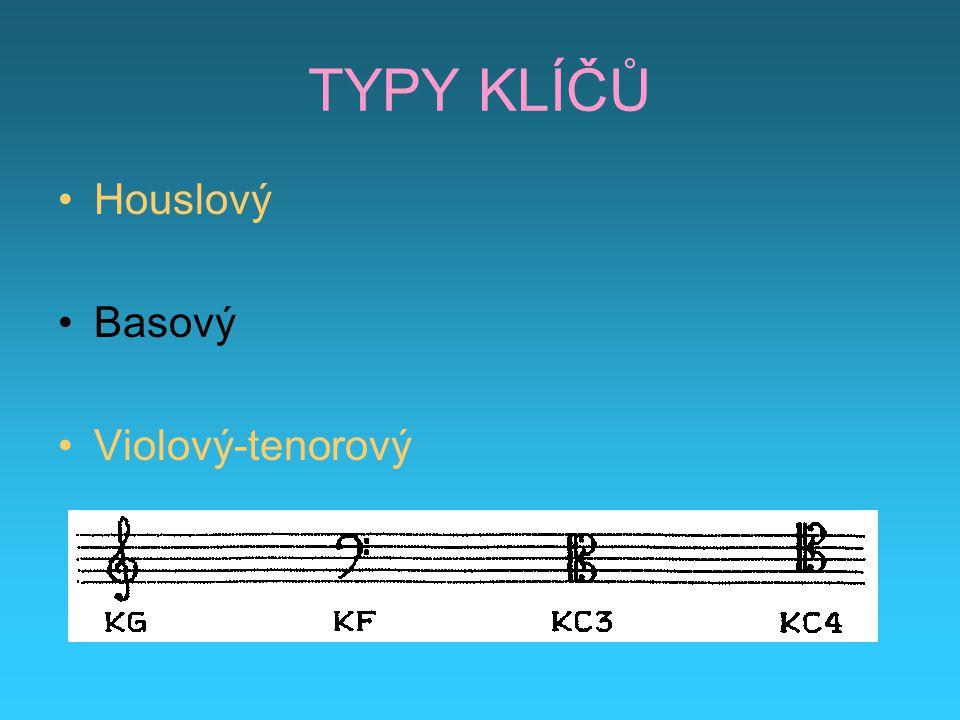 TYPY KLÍČŮ Houslový Basový Violový-tenorový