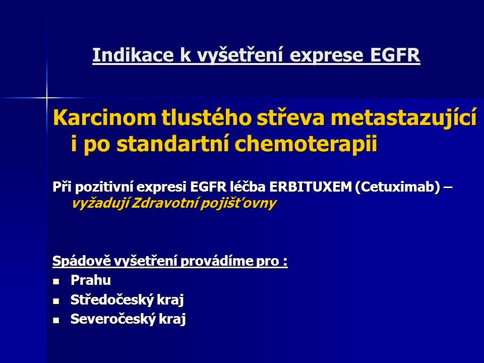 Indikace k vyšetření exprese EGFR