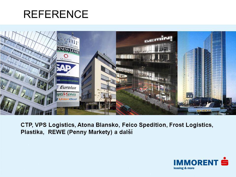 REFERENCE CTP, VPS Logistics, Atona Blansko, Feico Spedition, Frost Logistics, Plastika, REWE (Penny Markety) a další.